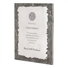 "Leadership Stone & Aluminum Award Plaque, 9"" x 11"""