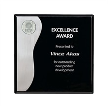 "Aluminum Flair Piano-Finish Wood Award Plaque, 8"" x 8"""