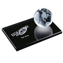 "Crystal Globe on Black Glass Base, 6"""
