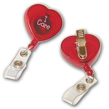 "Heart Shaped ""I Care"" Retractable  Badgeholder, Stock"