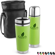 Leatherette Tumbler & Bottle Gift Set