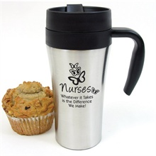 """Double Lock Stainless Steel Travel Mug, """"Nurses Whatever it Takes is the Difference We Make"""", Stock - On Sale, Closeout!"""