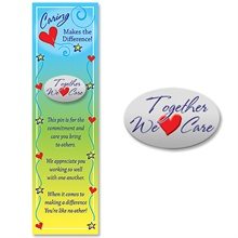 """Lapel Pin on Bookmark, """"Together We Care"""", Stock - On Sale, Closeout!"""