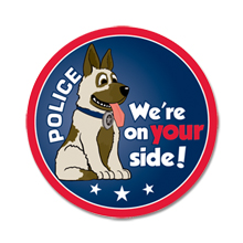 We're On Your Side Police Dog Sticker Roll, Stock