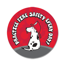 Practice Fire Safety Everyday Fire Dog Sticker Roll, Stock - Closeout, On Sale!