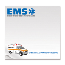 EMS, We're There Because We Care, 25 Sheet Sticky Pad