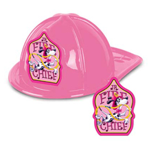Kid's Pink Junior Fire Chief Hat, Stock
