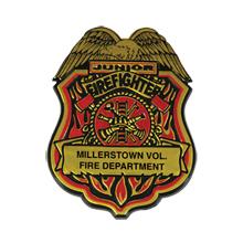 Junior Firefighter Badge, Maltese Cross & Eagle, Clip Backing, Custom