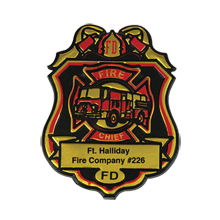 Fire Chief Badge, Clip Backing, Custom