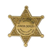 Junior 6 Point  Sheriff Star Badge with Pocket Clip, Custom