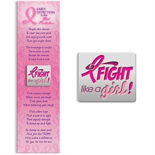 Fight Like a Girl! Breast Cancer Awareness Lapel Pin on Bookmark, Stock - On Sale, Closeout!