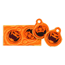Halloween Reflective Pumpkin Shoe Lace Tags, Stock