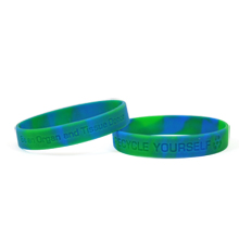 Recycle Yourself Two-Tone Silicone Bracelet  Wristband, Stock - Closeout!