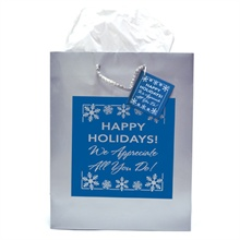 """Euro Tote, featuring """"Happy Holidays! We Appreciate All You Do!"""" design, Stock"""