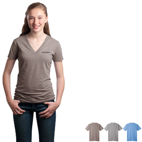 District Threads® - Junior Ladies Tri-Blend V-Neck Tee