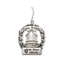Happy Holidays Bell Pewter Ornament
