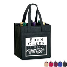 Six Bottle Non Woven Wine Tote w/ Full Color Imprint