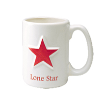 Raised Star Ceramic Mug, 15 oz.