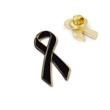 Black Ribbon Lapel Pin, Stock