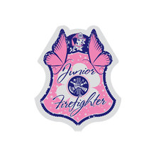 Pink Junior Firefighter Foil Sticker Badge, Stock - Closeout, On Sale!