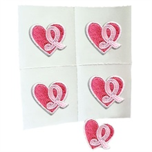 Embroidered Adhesive Applique Event Pack, Pink Ribbon Heart Design, Stock