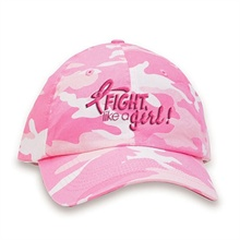 Fight Like a Girl! Breast Cancer Awareness Camouflage Baseball Cap, Stock