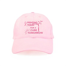 Fighting Today for a Cure Tomorrow Breast Cancer Awareness Pink Baseball Cap, Stock