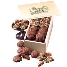 English Butter Toffee & Pecan Turtles in Wooden Collector's Box
