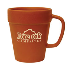 Terra Cotta Ceramic Flower Pot Mug, 14oz.