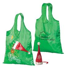 Holiday Santa Hat Folding Tote