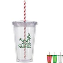 Acrylic Beverage Tumbler w/ Candy Cane Straw, 16oz., BPA Free