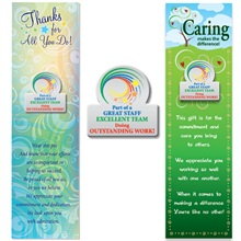 """Lapel Pin on Bookmark, """"Part of a Great Staff, Excellent Team, Doing Outstanding Work!"""", Stock - On Sale, Closeout!"""