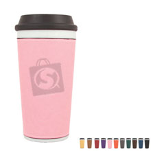 Ceramic Tumbler w/ Leatherette Sleeve, 16oz.