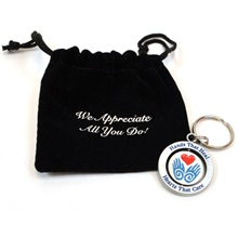 "Metal Spinning Keyholder, ""Hands that Heal, Hearts that Care"", Stock - On Sale, Closeout!"