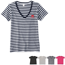 Anvil® Ladies' Striped V-Neck Tee