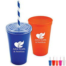Stadium-to-Go Single Wall Cup with Lid and Straw, 20oz., BPA Free