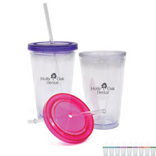 Mosaic Acrylic Beverage Tumbler with Straw, 16oz. - Free Set Up Charges!