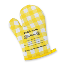 Don't Invite Us To Dinner Quilted Oven Mitt, Stock
