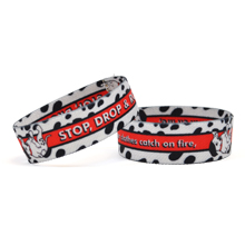 Stop, Drop & Roll Dye-Sublimated Stretch-E Wristband, Stock