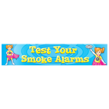 Test Your Smoke Alarms Full Color Fire Prevention Poly Banner, Stock