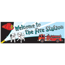 Welcome To The Fire Station Full Color  Heavy Duty Fire Prevention Banner, Stock