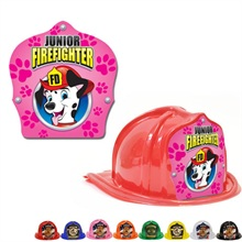 Chief's Choice Kid's Firefighter Hat, Dalmatian Pink Paw Design, Stock