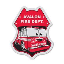 Junior Firefighter/Fire Truck Foil Sticker Badge, Custom