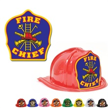 Chief's Choice Kid's Firefighter Hat, Blue Background, Stock