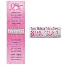 "Lapel Pin on Bookmark, ""Every Ribbon Tells a Story"" Breast Cancer Awareness, Stock - On Sale, Closeout!"