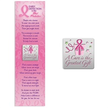 "Lapel Pin on Bookmark, ""A Cure is the Greatest Gift"" Breast Cancer Awareness, Stock - On Sale, Closeout!"