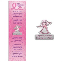 "Lapel Pin on Bookmark, ""Together in Faith, Hoping for a Cure"" Breast Cancer Awareness, Stock - On Sale, Closeout!"