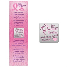 "Lapel Pin on Bookmark, ""Our Fight Together Will Help Lives Forever"" Breast Cancer Awareness, Stock - On Sale, Closeout!"