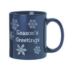 Ceramic Mug w/ Snowflake Design, 11oz. - Blue