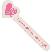 "Heart Shaped Emery Boards (Pack of 100), ""Supporting, Honoring, Hoping"" Breast Cancer Awareness, Stock - On Sale, Closeout!"